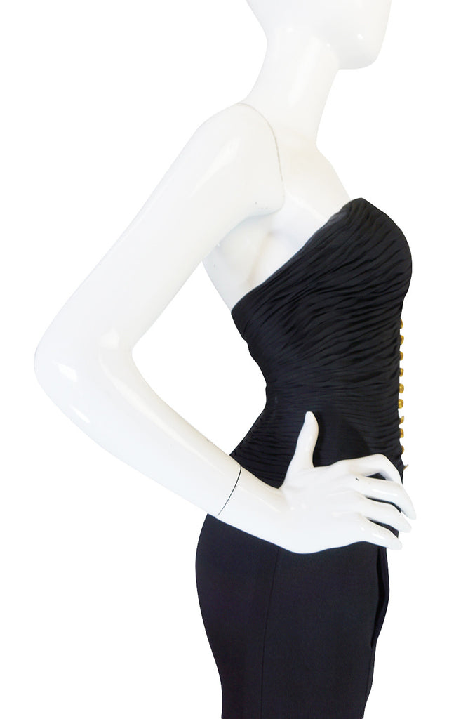 1980s Chanel Black Silk Chiffon & Jersey Fitted Dress