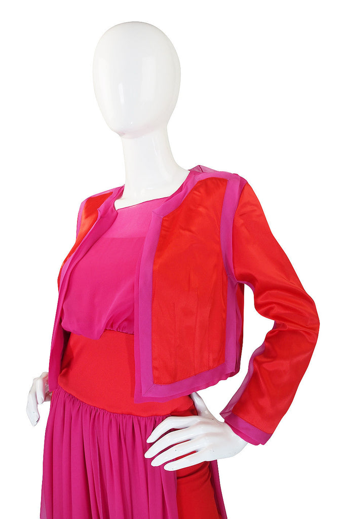 1980s Red & Pink Gianfranco Ferre Silk Dress