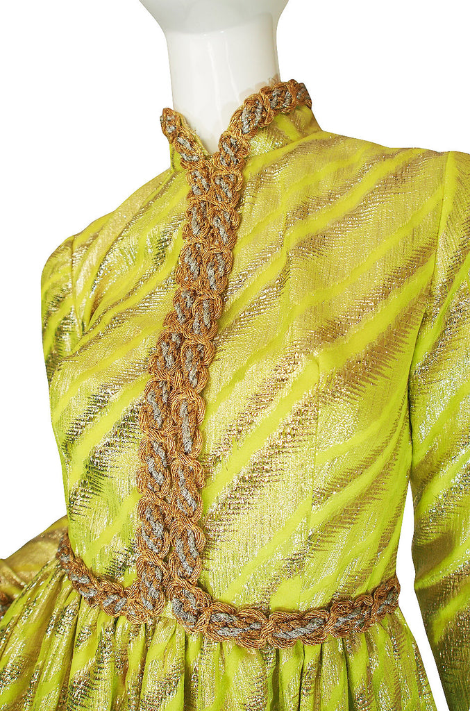 1960s Oscar de la Renta Green & Gold Silk Gown