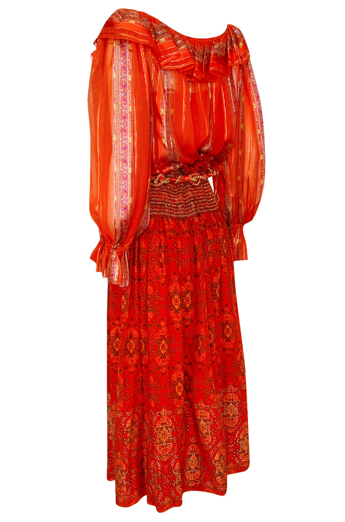 Late 1970s Oscar De La Renta Ribbon Silk Chiffon Four Piece Coral Skirt Set