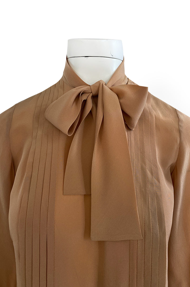 1970s Chanel True Haute Couture Pleated Front Silk Top w Bow & French Cuffs