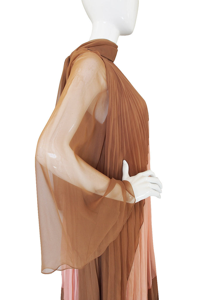 1970s Pleated Travilla Caftan Gown