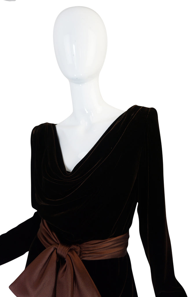 c1983 Hubert de Givenchy Haute Couture Velvet Dress w Silk Bow
