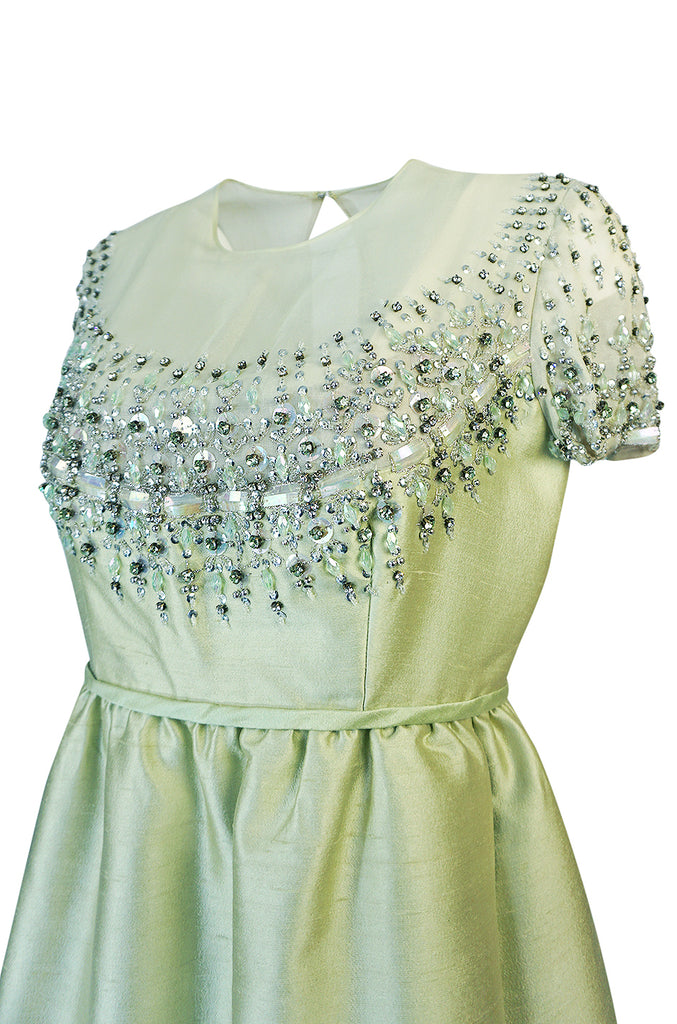 1960s Malcolm Starr Silk, Sequin, Beads & Crystal Embellished Dress