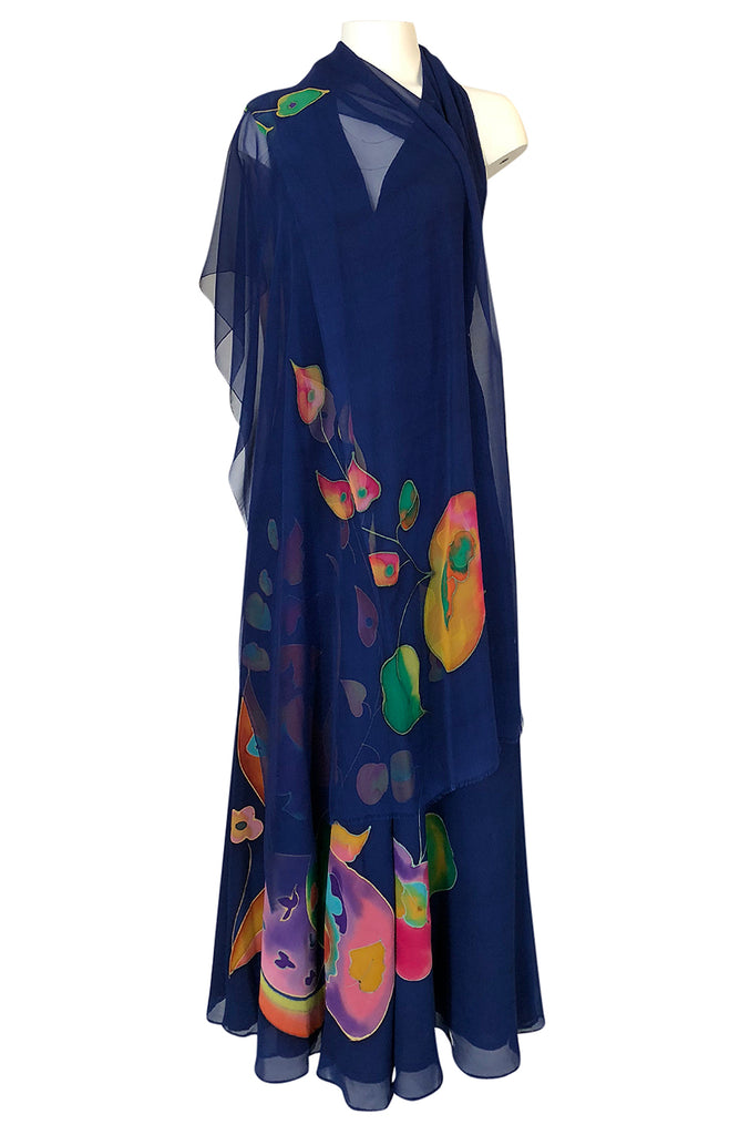 c.1972 Unlabeled Karl Lagerfeld Chloe Hand Painted Halter Dress & Scarf