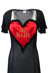 1990s Moschino Love Me Baby Red Heart on Black Net Lingerie Dress