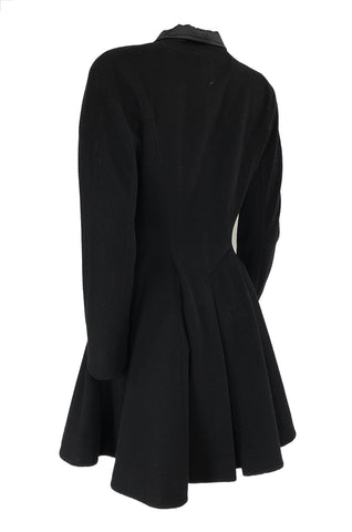 1990s Christian Dior Black Full Skirted Skater Coat W Satin Collar & Buttons