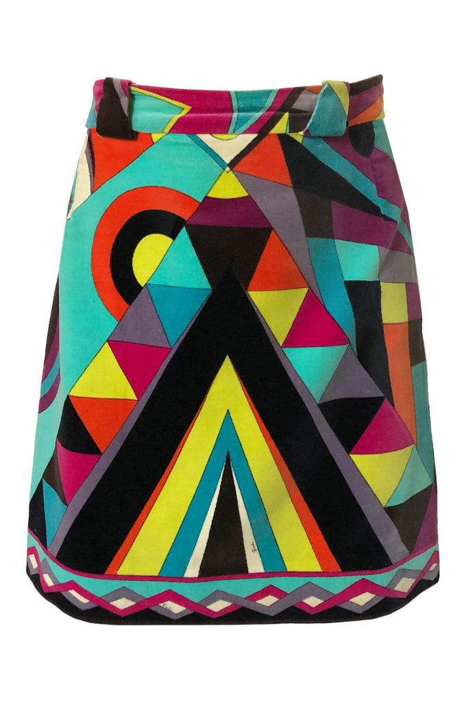 1960s Emilio Pucci Bright Beomteric Shaped Print Velvet Skirt