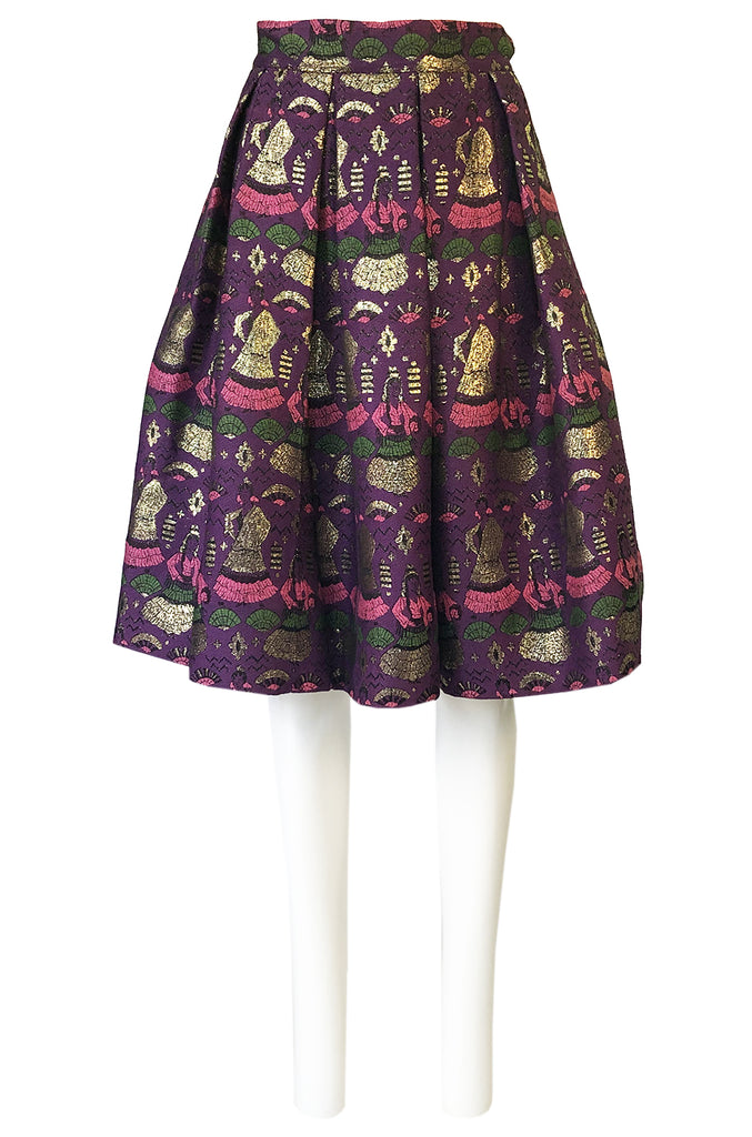1950s Saks Fifth Avenue Purple & Gold Metallic Silk Brocade Novelty Skirt