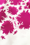 Huge 1970s Yves Saint Laurent Bright Pink & Ivory Print Silk Scarf