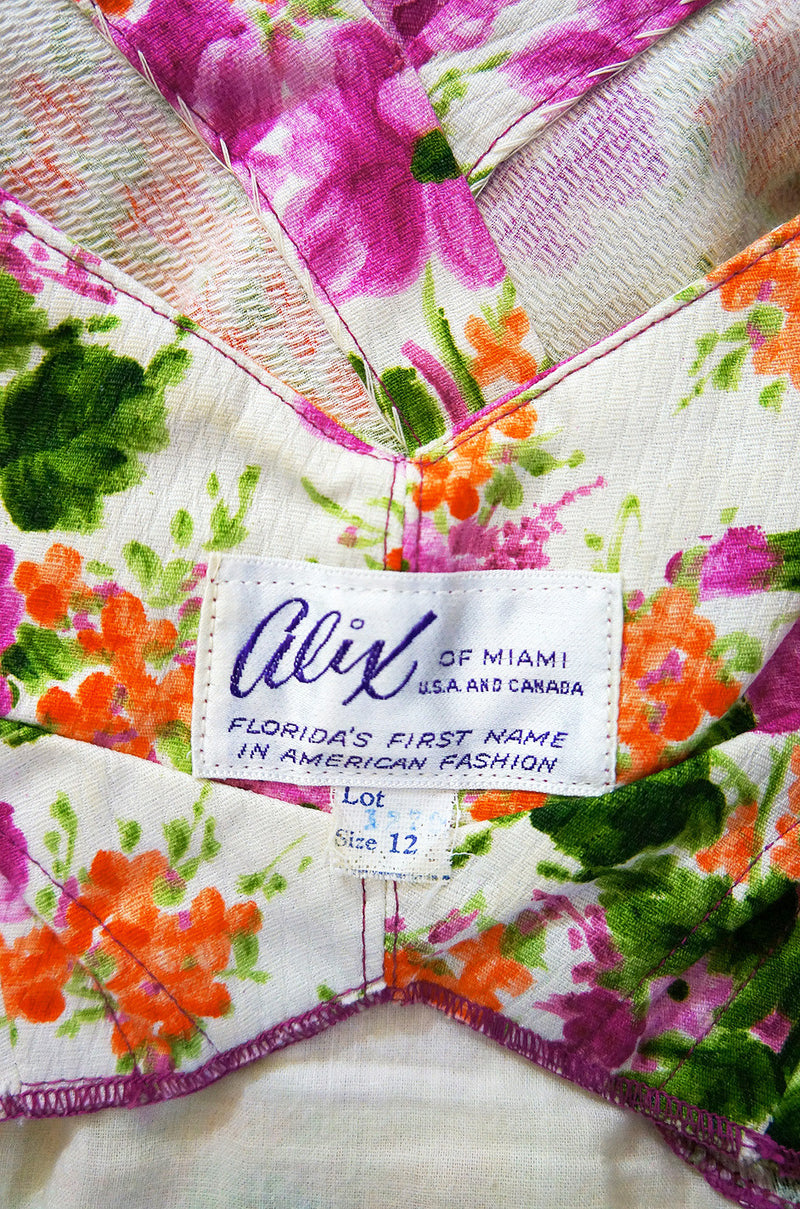 1950s Alix of Miami Floral Wiggle Dress