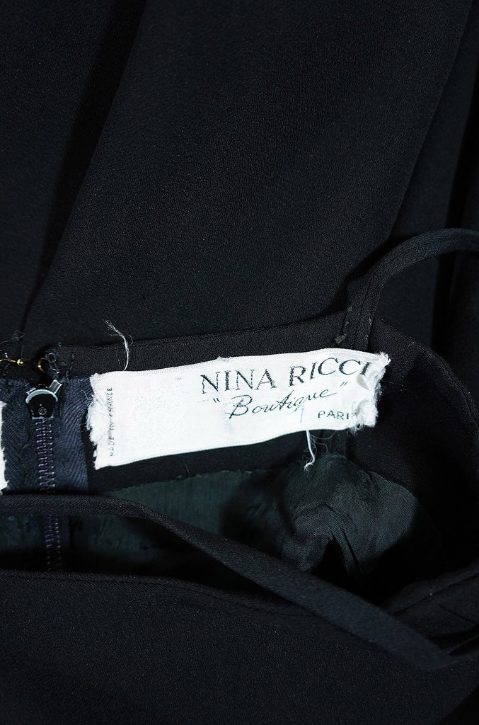 1970s Amazing Black Nina Ricci Dress