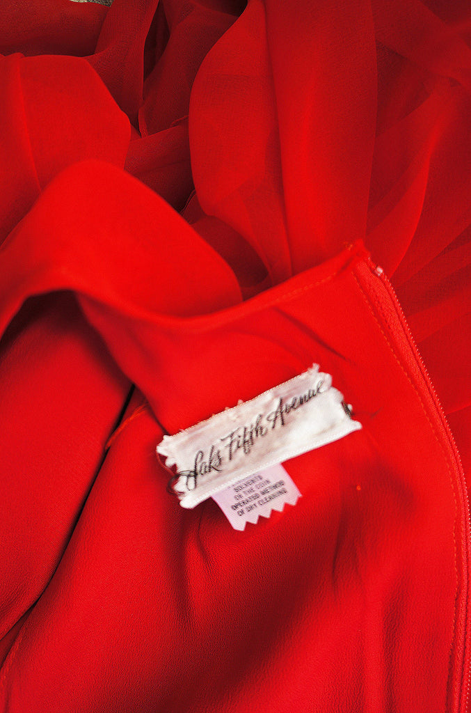 1970s Saks 5th Ave Red Chiffon Maxi