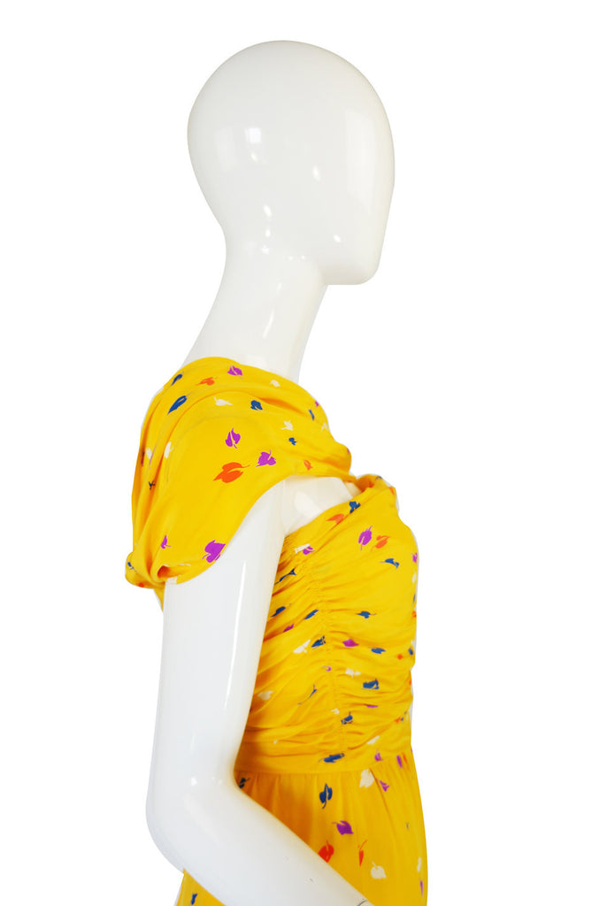 1970s Oscar De La Renta Silk Maxi Dress