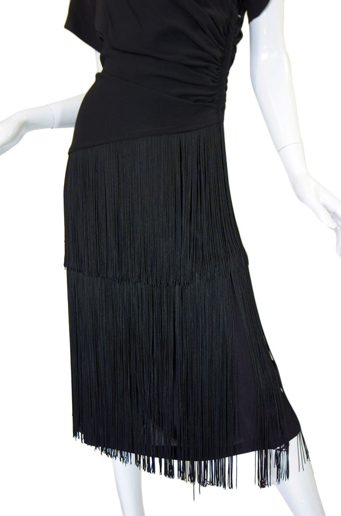 1940s Fringed Silk Crepe Wiggle Dress