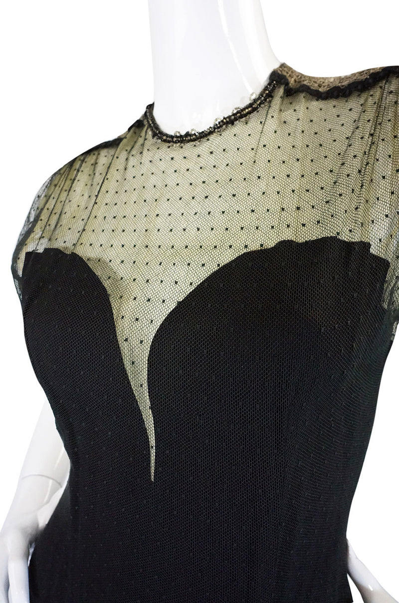 Rare 1940s Edith Small Silk & Lace Dress