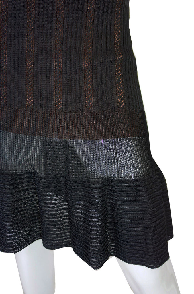 2008 Azzedine Alaia Black & Nude Open Weave Knit Dress