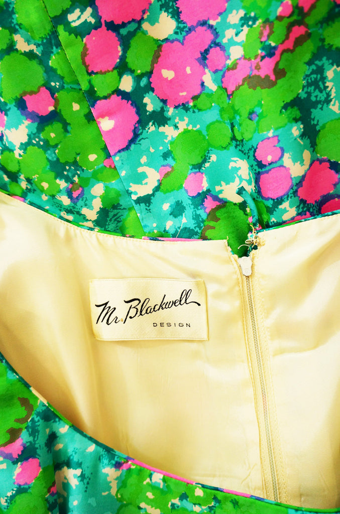 1960s Silk Mr Blackwell Floral Dress