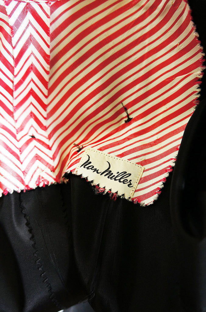 Early 1950s Peppermint Stripe Silk Dress