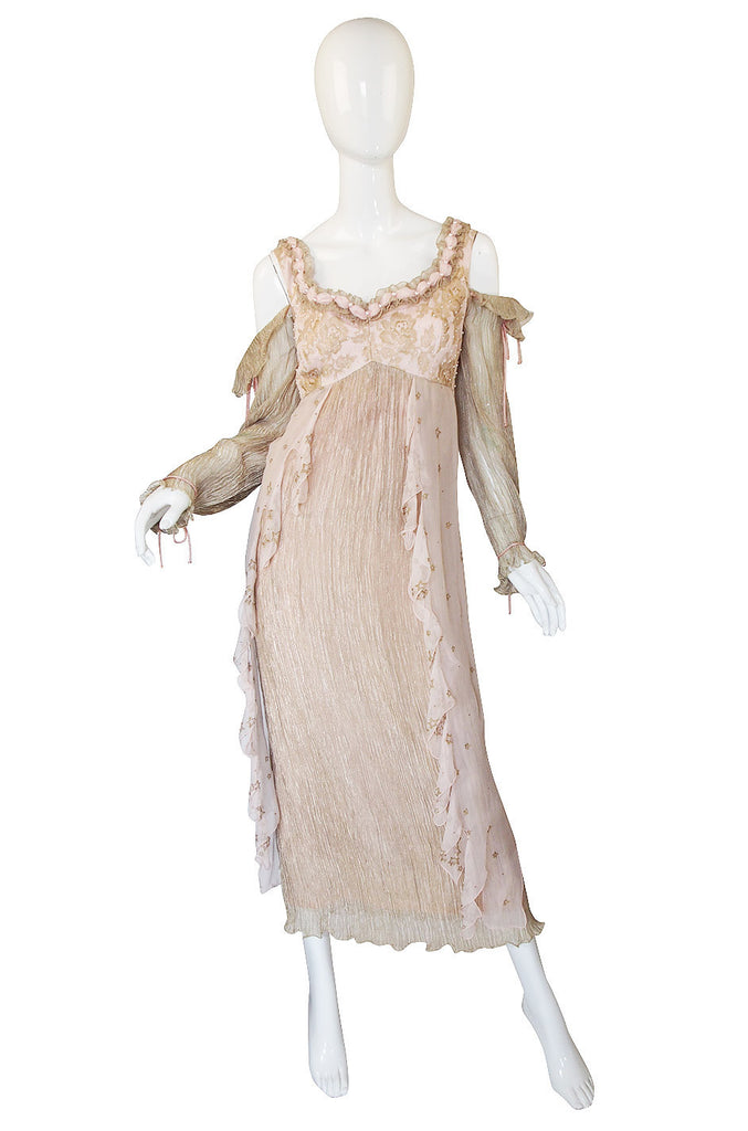 1970s Zandra Rhodes Hand Painted Silk Gown