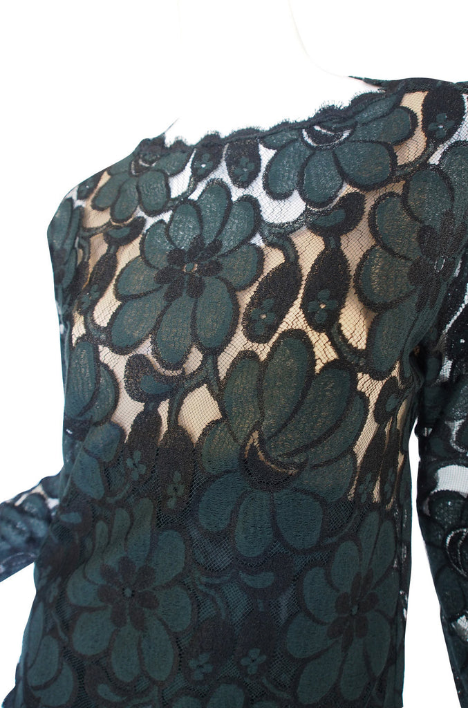1980s Geoffrey Beene Deep Green Lace Set
