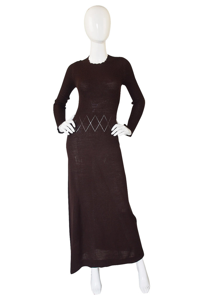1970s Brown Knit Bill Blass Maxi Dress