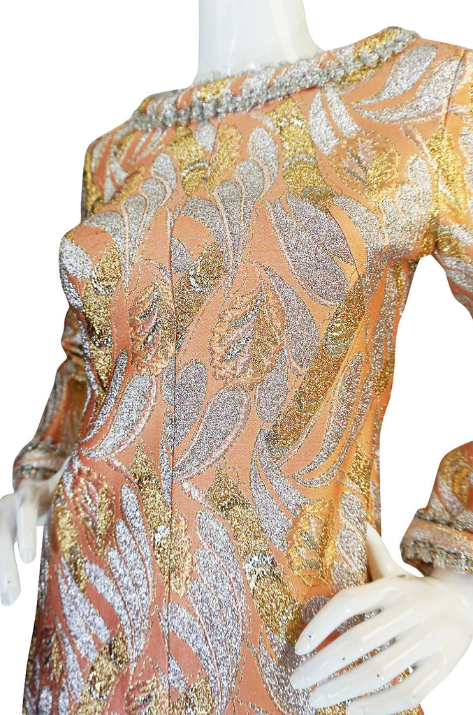 1960s Metallic Coral, Gold & Silver A-Line Dance Dress
