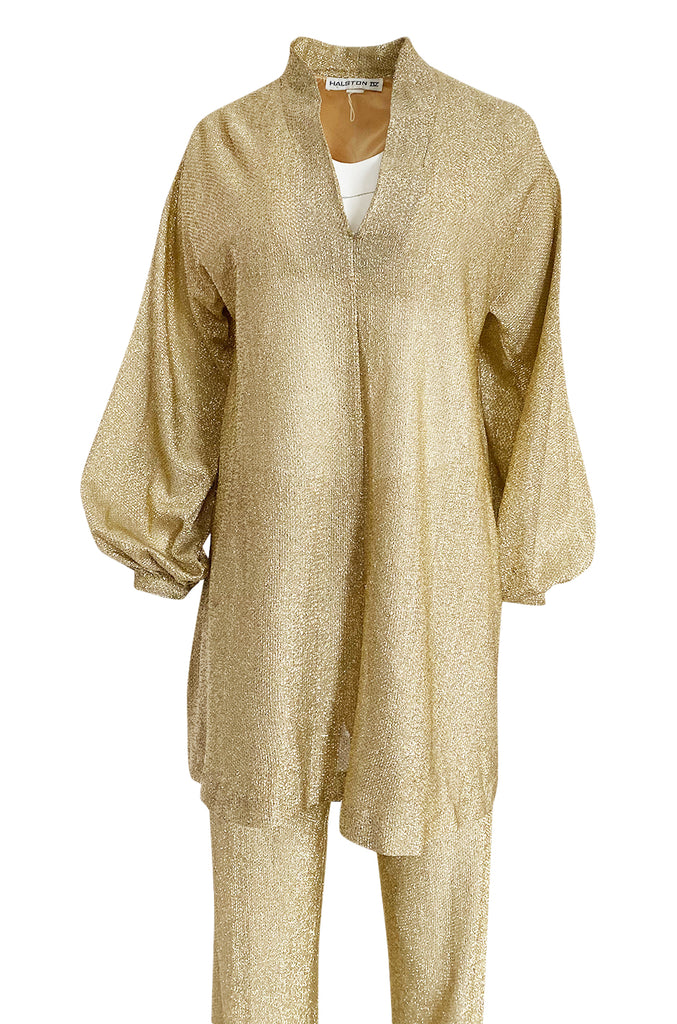 1970s Halston Bright Gold Metallic Lame Lurex Top & Pant Set