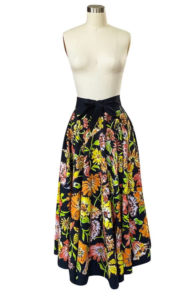 1960s Hand Painted Sequin Bright Floral Print Cotton Mexican Skirt