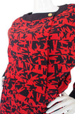 1980s Print Red & Navy Chanel Skirt and Top Set