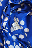 1970s Ted Lapidus Blue Silk Dot Dress