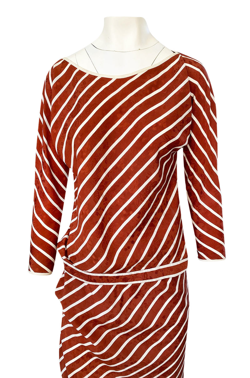1980s Oscar de la Renta Rust and White Striped Silk Top & Skirt Set