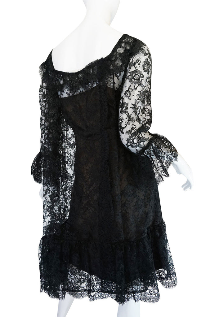 1960s Baby Doll Bill Blass Lace & Silk Dress Set