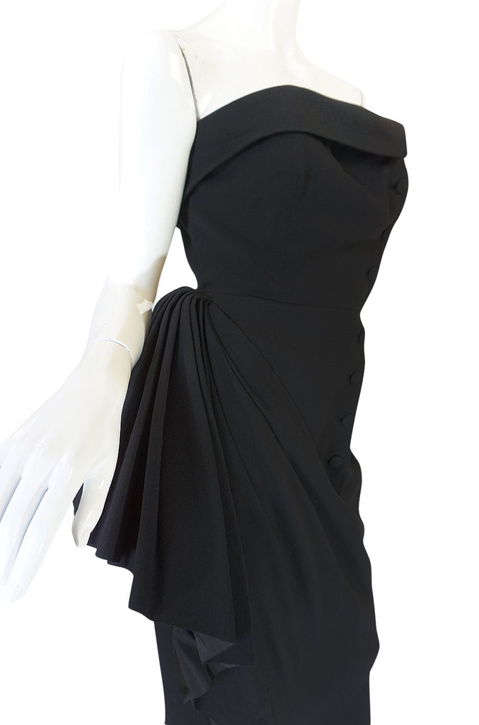 1950s Strapless Demi-Couture Paul Dauuay Fitted Dress