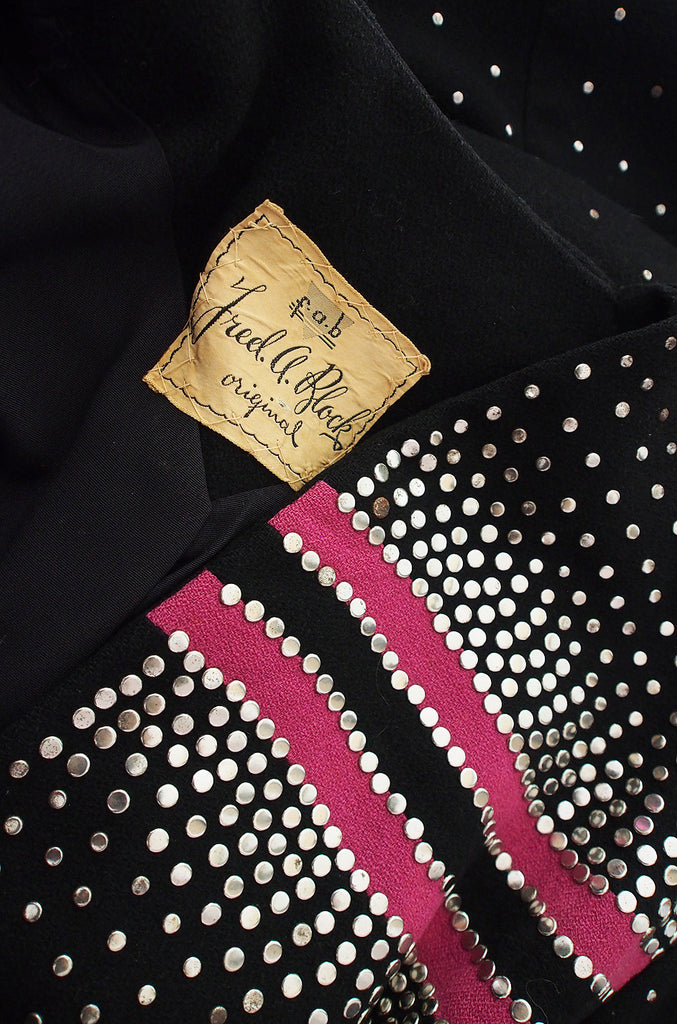 1940s Rare Fred Block Stud Jacket with Pink