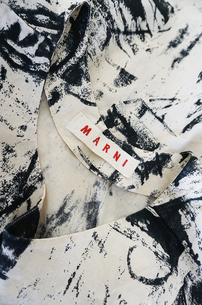 Recent Marni Graphic Abstract Print Cotton Sack Dress