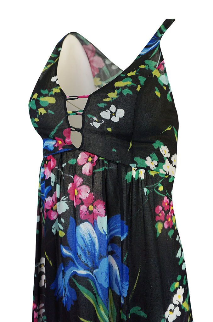 1960s Unlabeled Bright Floral Print On Black Nylon Lingerie Dress