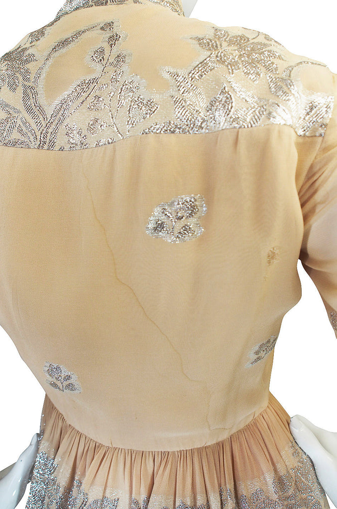 1960s Silk and Silver Thread Oscar de la Renta Dress