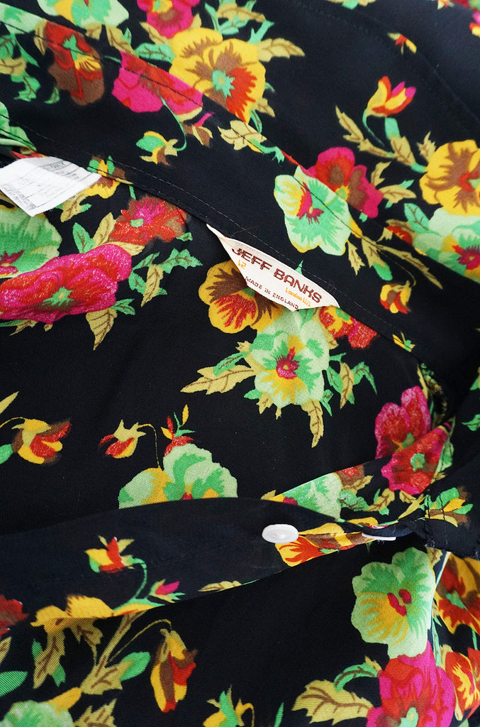 1960s Rare Bright Floral Silk Jeff Banks Button Shirt