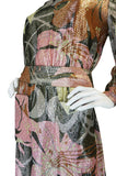1970s Harry Levine Pink Print Lurex Lame Pocket Dress