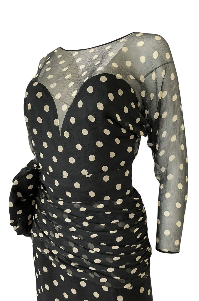1980s Vicky Tiel Backless Dotted Silk Chiffon Fitted Mini Dress