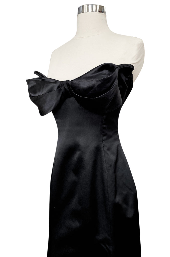 Fall 1998 Vivienne Westwood Bow Front Black Silk Satin Strapless Corset Dress