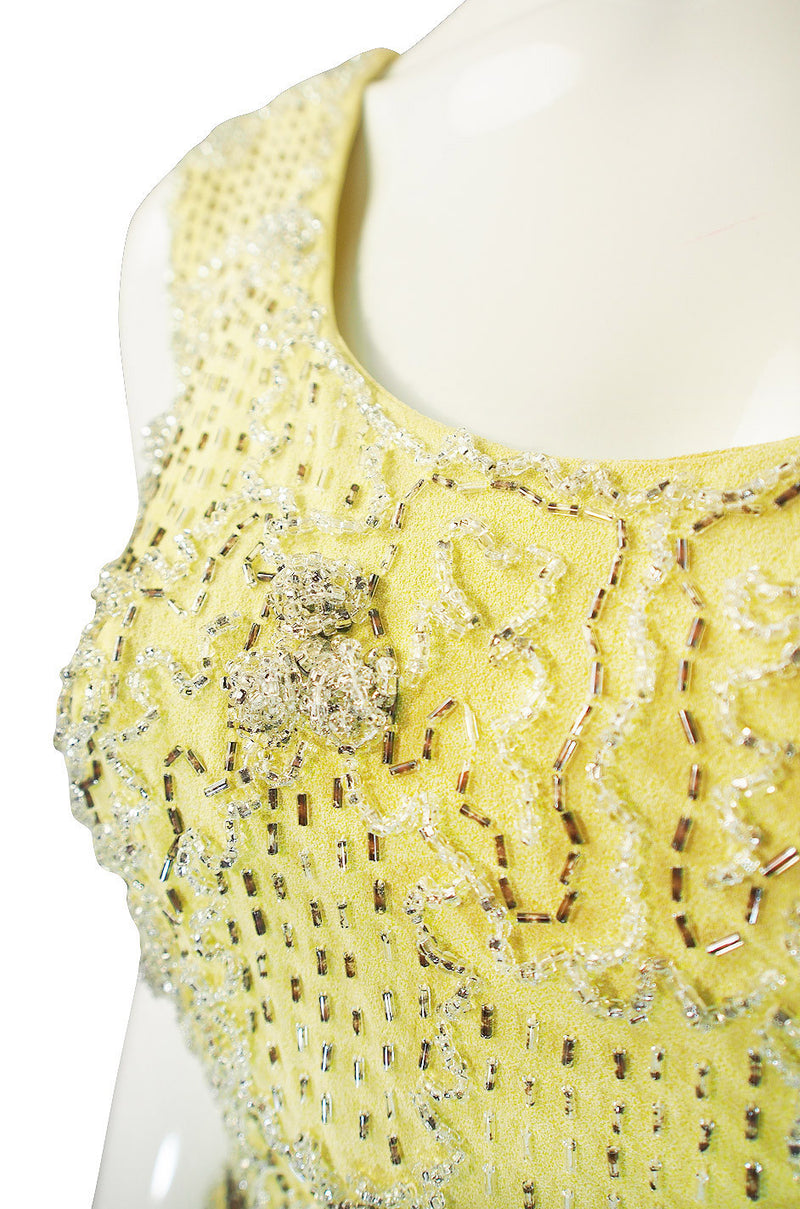 1960s Beaded Silk Pale Lemon Malcolm Starr