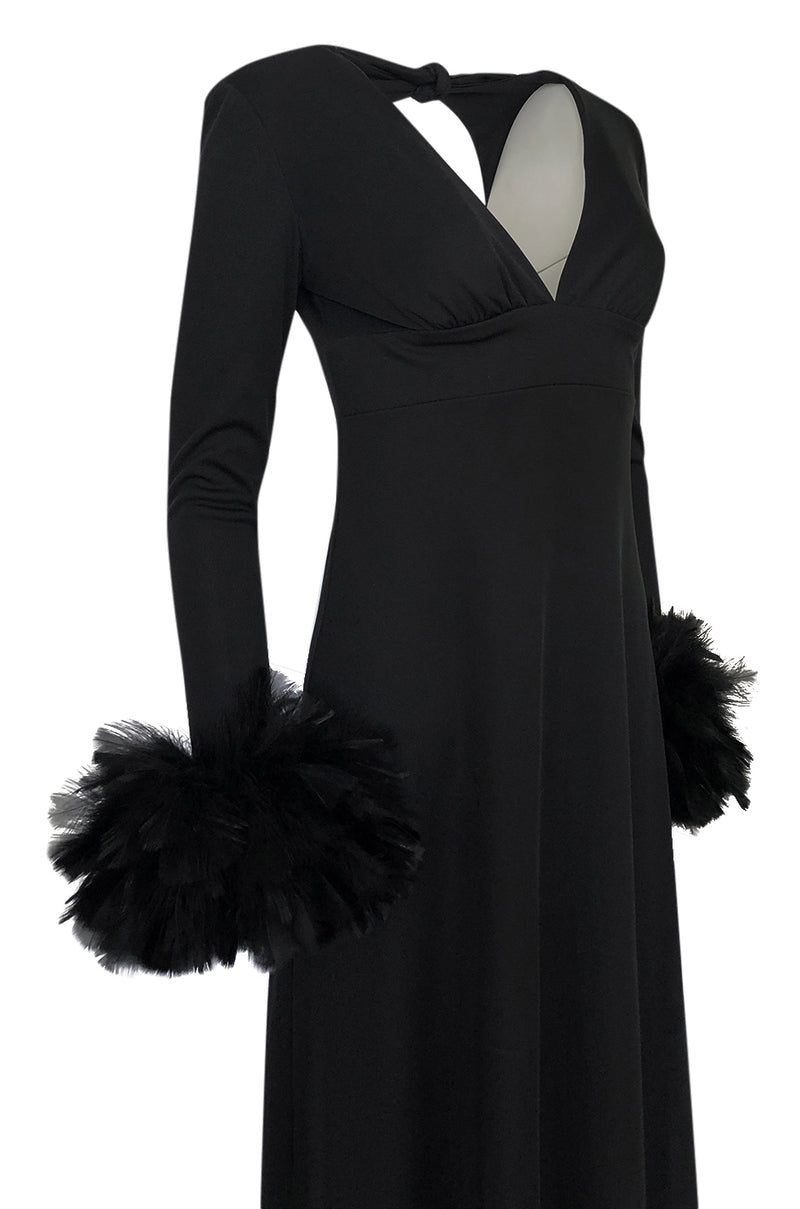 1970s Unlabeled Open Back Black Jersey Dress w Glossy Feather Cuffs