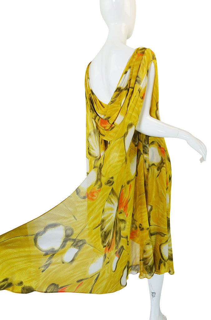 1960s Dramatic Silk Scarf Arm Lilli Diamond Floral Dress