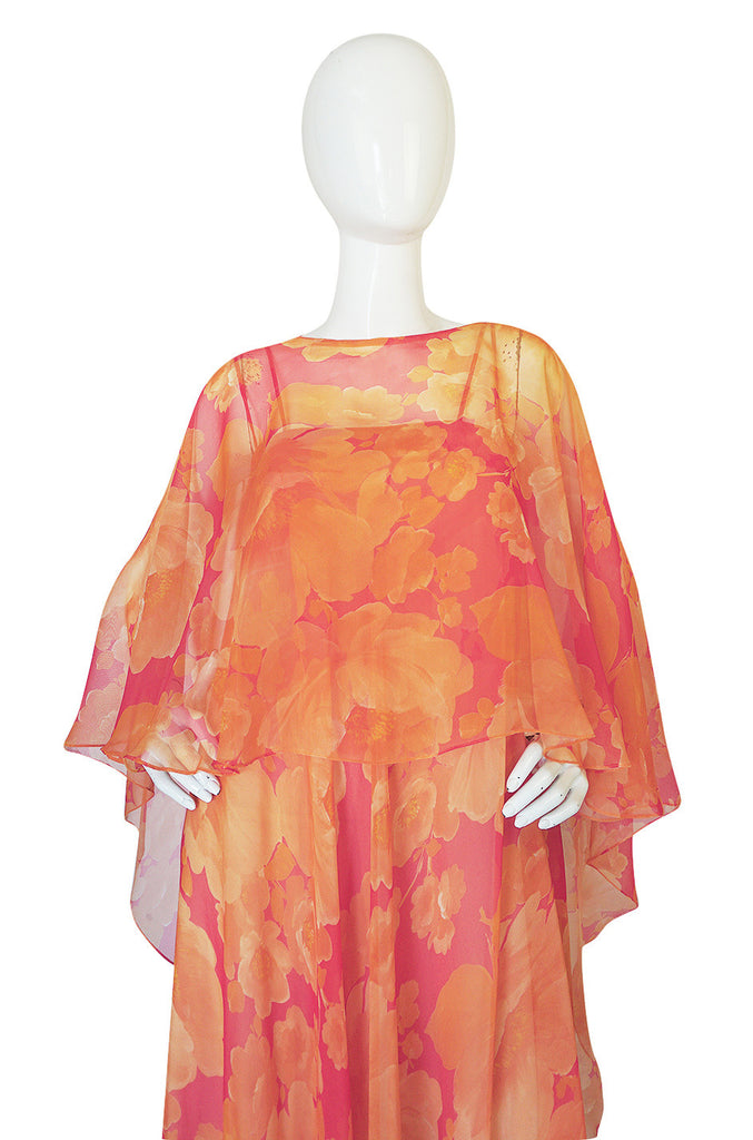 1960s Unlabelled Floral Chiffon Dress with Cape Overlay