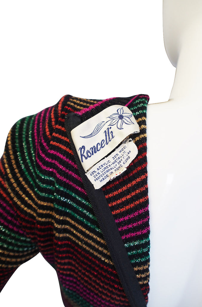 1970s Multi Color Striped Metallic Knit Maxi Dress