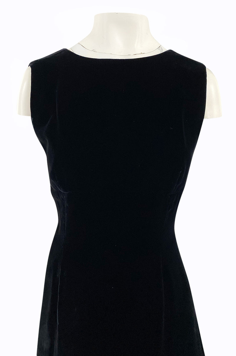 1980s Unlabeled Chanel Haute Couture Black Velvet Tabard w Silk Chiffon & Lace Under Skirt