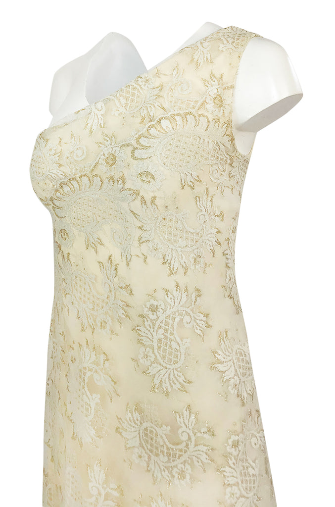 1970s Stavropoulos Gold Metallic & Ivory Lace One Shoulder Dress