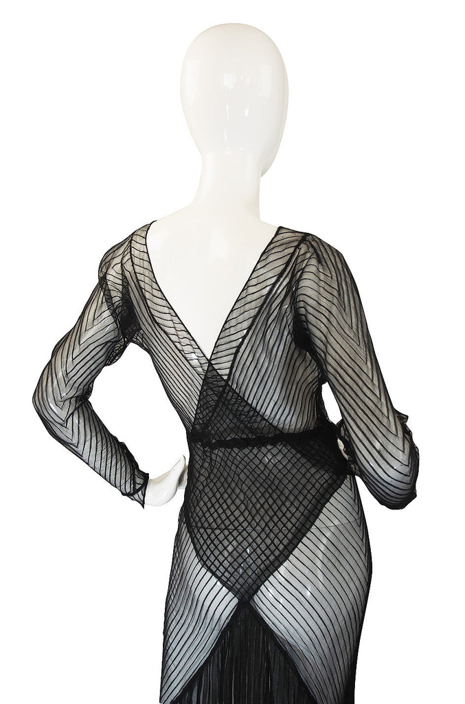 1930s Exceptional Black Silk Net Bias Gown